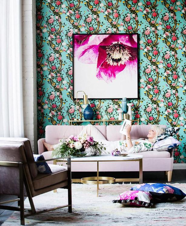 Editorial Stylist Kerrie-Ann Jones Interior Styling Sydney & Melbourne.  Reali Living Magazine, Interior Styling.  Pink sofa, green wallpaper, feminine interior, living room styling  #pinksofa #pinkcouch #livingroominspiration