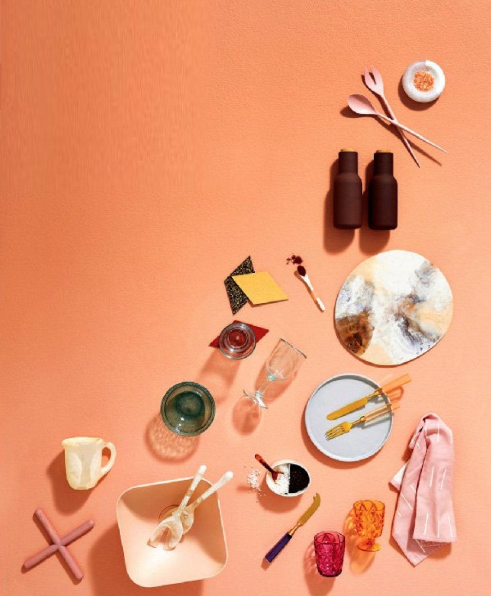 Flat Lay Styling by Kerrie-Ann Jones Stylist.  Sydney & Melbourne.  Still Life Styling, Art Directed Styling, Earthy Colour Palette, Sunburnt Colours, Tabletop Styling. #flatlay #stylist #stilllife