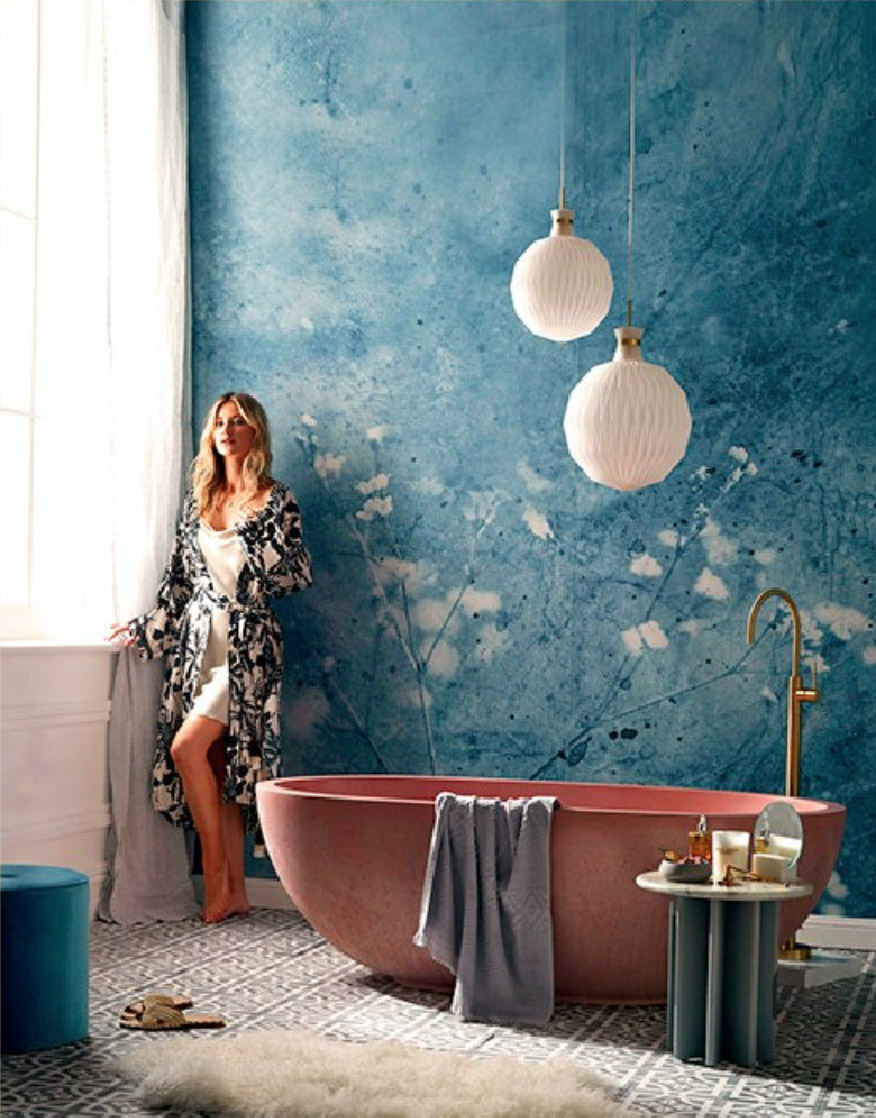 Set Design Kerrie-Ann Jones Style Editor Sydney & Melbourne.  Real Living Magazine, Bathroom Styling, Interior Design.  Painted Wall Mural.  Feminine Styling.  Inside Out Magazine, Vogue Living, House & Garden, Homes to Love & Belle Magazine. #setdesign #magazine #bathroomstyling