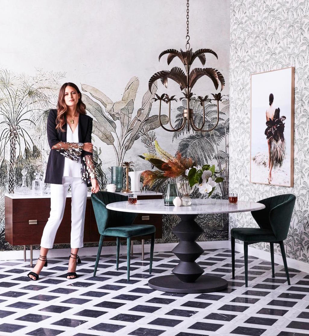 Set Design Kerrie-Ann Jones Style Editor Sydney & Melbourne.  Real Living Magazine, Table Setting & Dining Styling, Interior Design.  Painted Wall Mural.  Feminine Styling.  Inside Out Magazine, Vogue Living, House & Garden, Homes to Love & Belle Magazine. #setdesign #tablesetting #diningstyling