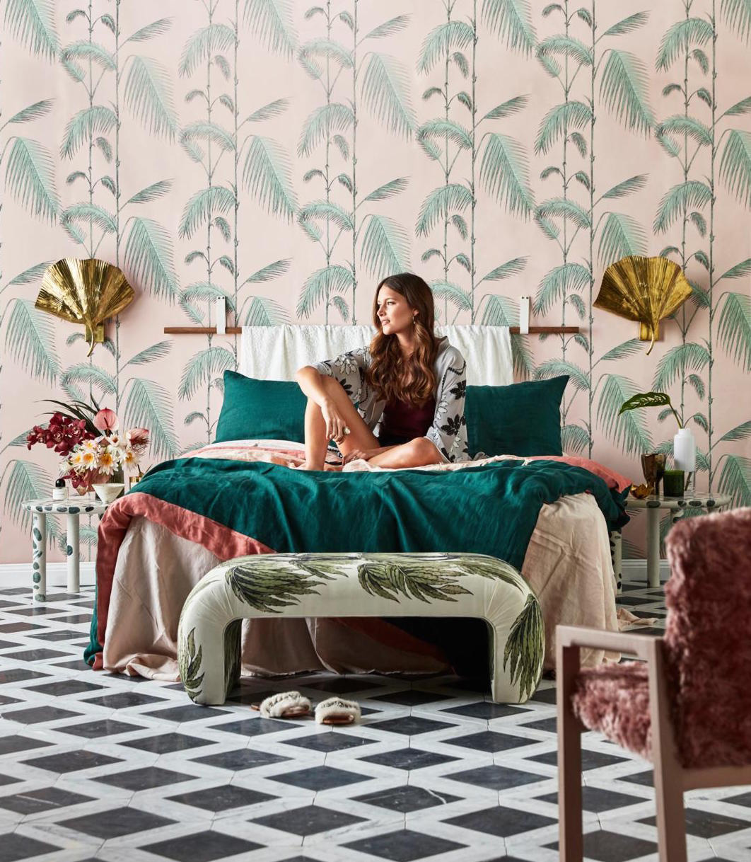 Set Design Kerrie-Ann Jones Style Editor Sydney & Melbourne.  Real Living Magazine, Winter Bedroom Styling, Interior Design.  Painted Wall Mural.  Feminine Styling.  Inside Out Magazine, Vogue Living, House & Garden, Homes to Love & Belle Magazine. #setdesign #magazine #bedroomstyling