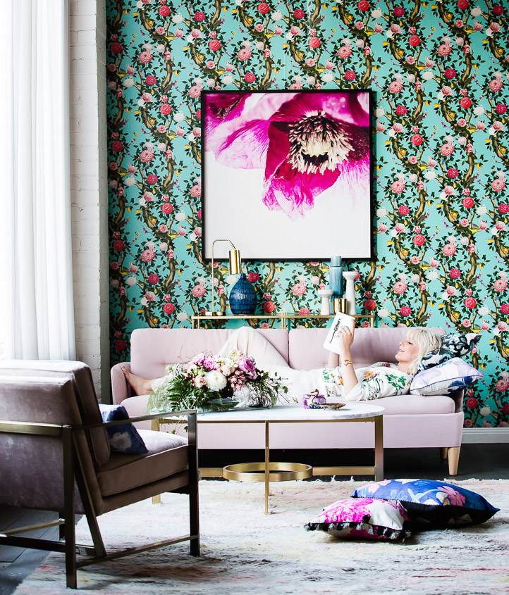 Set Design Kerrie-Ann Jones Style Editor Sydney & Melbourne.  Real Living Magazine, Couch & Living Room Styling, Interior Design.  Painted Wall Mural.  Feminine Styling.  Inside Out Magazine, Vogue Living, House & Garden, Homes to Love & Belle Magazine. #setdesign #couch #livingroomstyling