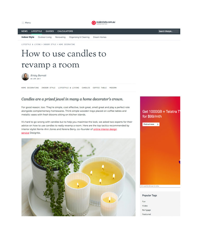 realestate.com.au - How to use candles to revamp a room