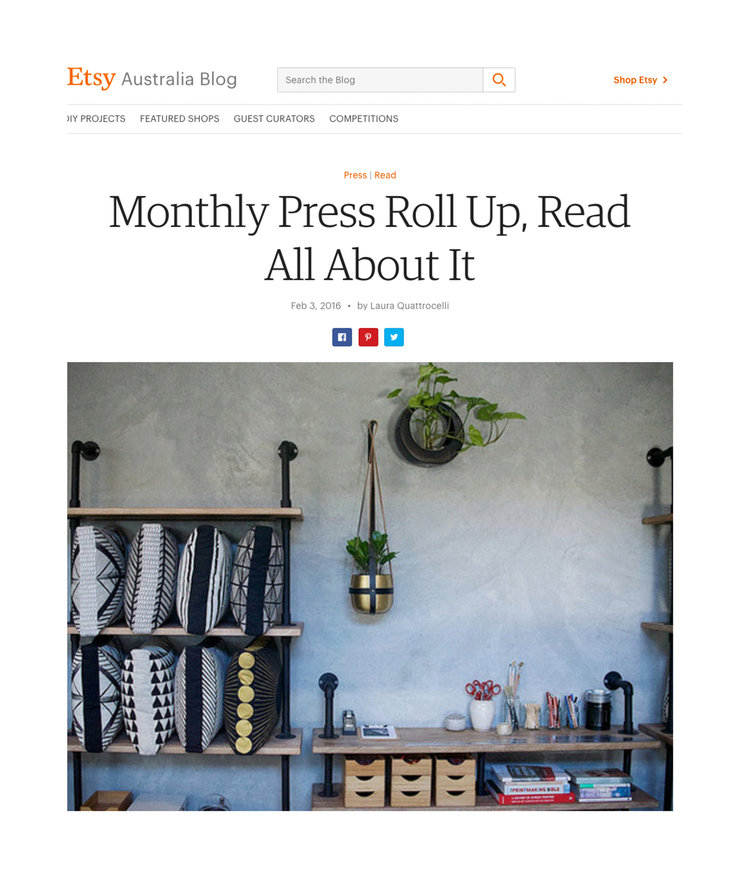 Etsy - Monthly Press Roll Up, Read All About it
