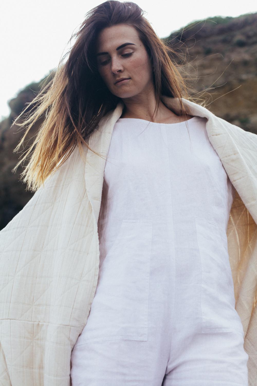 Jumpsuit —  White  & Kimono Shawl —  Natural