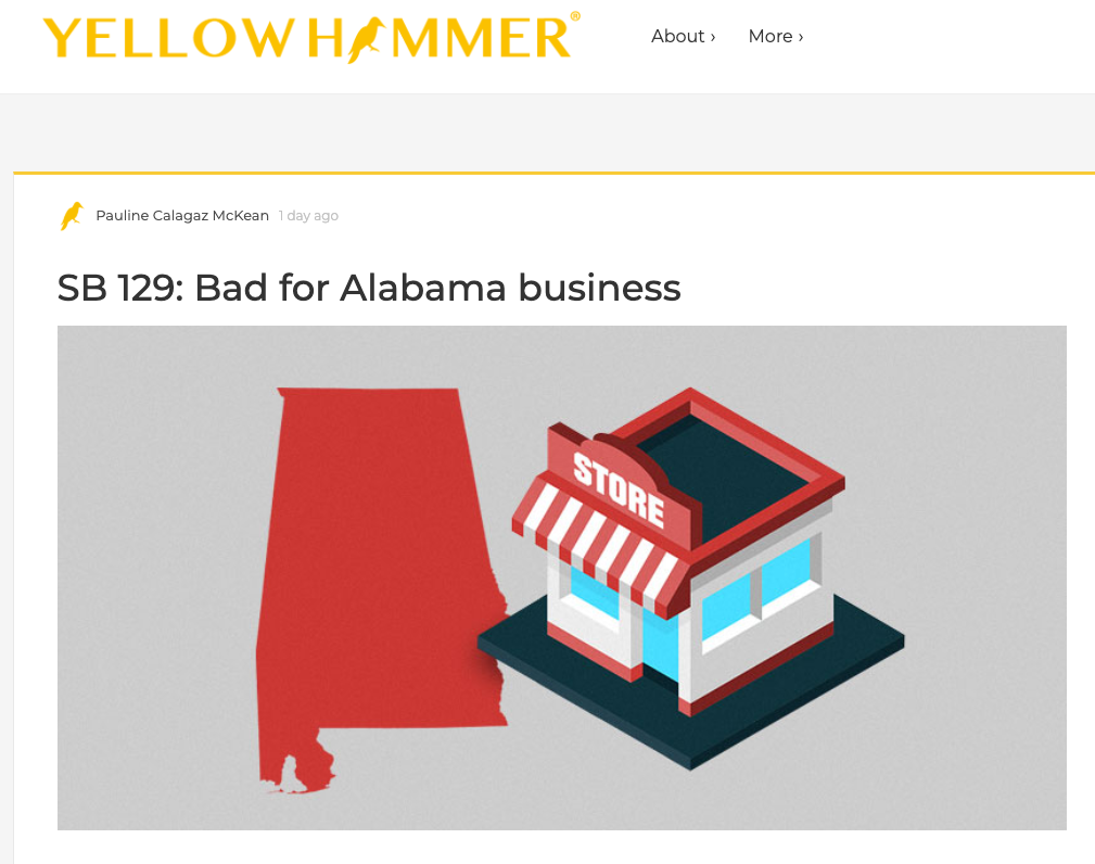"""""""Businesses of all types – everything from five-employee stores like mine to Fortune 500 companies – are asking the legislature to slow down and think about what they're doing. I hope the Legislature considers how new regulations like this can impact Alabama business owners and our state's economy down the road."""" - Pauline McKean, FASTSIGNS franchisee, Mobile -"""