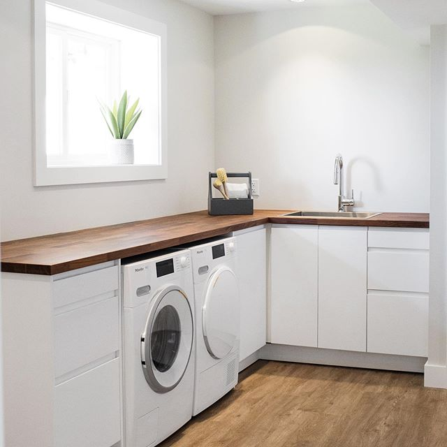 The mindful on budget, yet still very stylish laundry transformation. We wanted bright, well functioning, modern...and pocket book friendly! When IKEA cabinetry is well designed, and installed similar to how custom cabinetry would be,  the end result is fantastic!  #kilmerroadproject #laundryroomreno @ikeacanada @kiaporterphoto