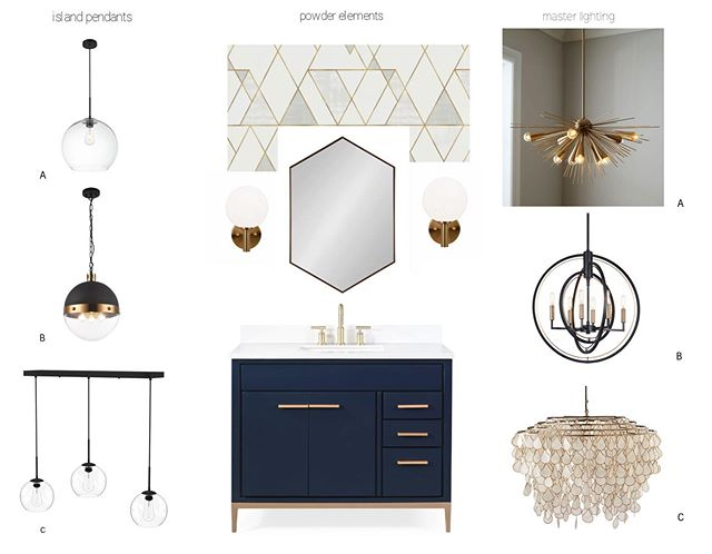 This is a fun one! A choose your own adventure for those who like a little guided flexibility... . . . #powderroomdesign #goldhardware #navyvanity #interiordesign #lighting #geometricwallpaper