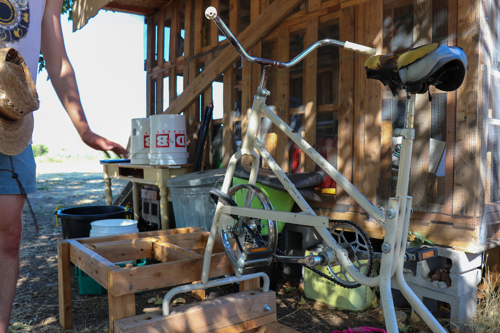 Henry rigged an old exercise bike to allow him to winnow the grains he produces. Doesn't get more #NetZero than that.