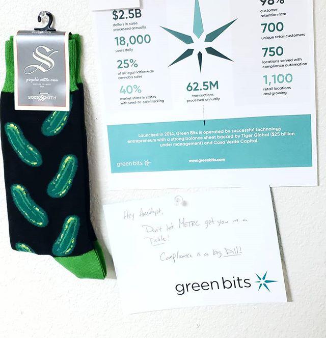 #hahaha @greenbitscom #pickles #picklesocks #readthenote #dispensarylife #oregoncannabis