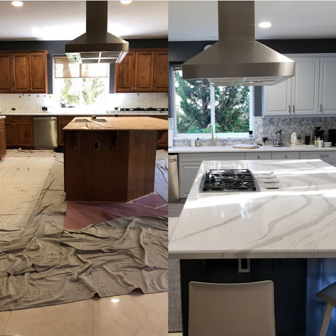 designed by ohan hazar— new countertops and backsplash using same cabinets with a coat of paint