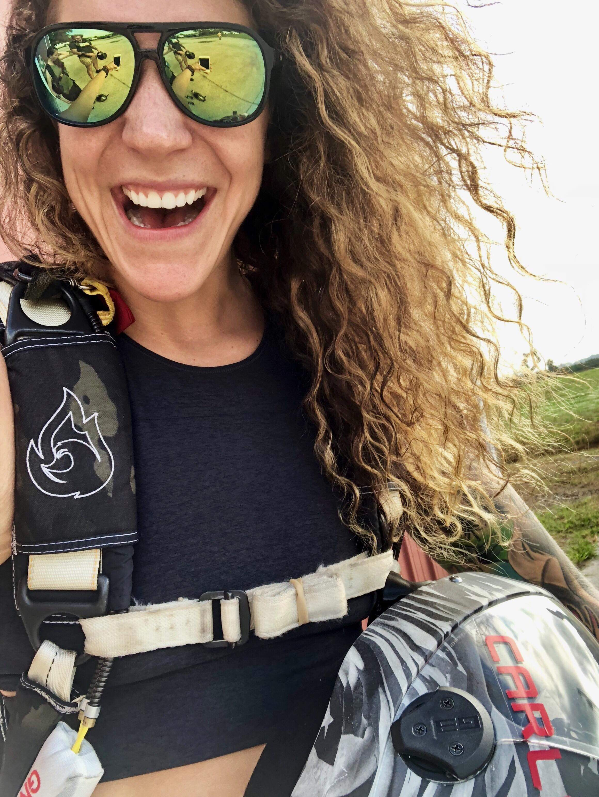 Carlye Barto   Gnarly Carlye is the good vibes queen. Based out of Virginia Beach, she has been a freefly coach and tunnel instructor for several years now. She holds multiple state and world records in freeflying, is a parachute rigger and a tandem instructor. She has competed in 4 way dynamic in the wind tunnel and enjoys flying freestyle. Carlye loves jumping with students of all skill levels and helping them progress in the sport.