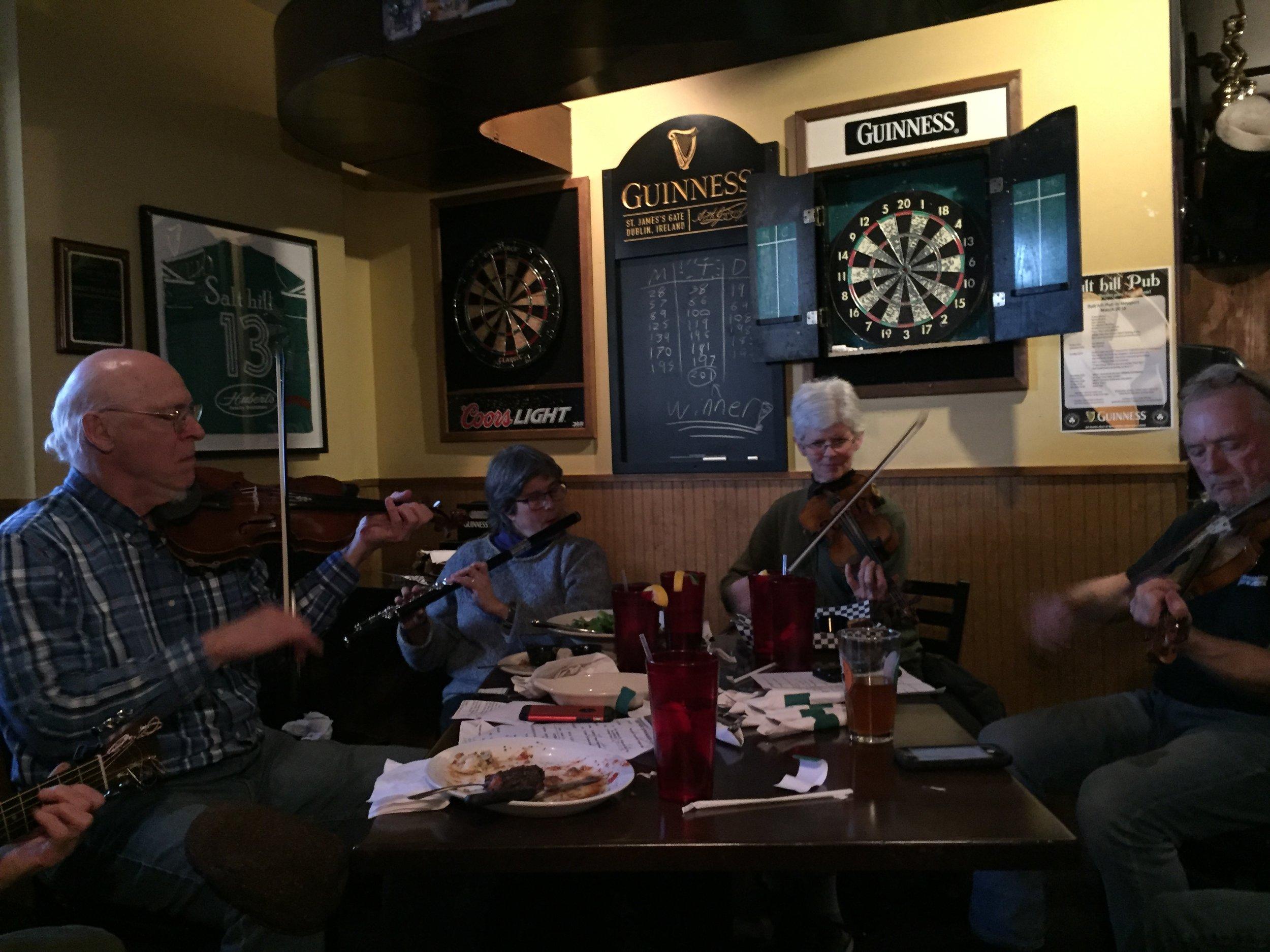 At the Salt Hill Pub in Newport: Randy Miller, Sarah Bauhan, Jane Orzechowski, Skip Gorman