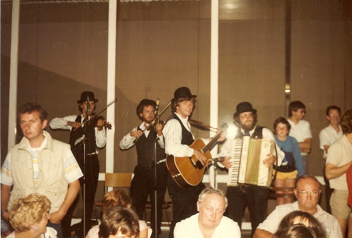 The original Fresh Fish: Kerry Elkin (second fiddler from left) Tom Hodgson, Gordon Peery (who eventually gave up the accordion, much to everyone's relief!), playing for the Green Mountain Volunteers in Belgium