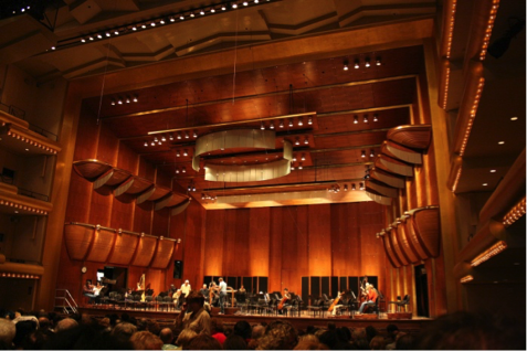 This photo (not of that evening) more properly conveys the radiance of Avery Fisher Hall.