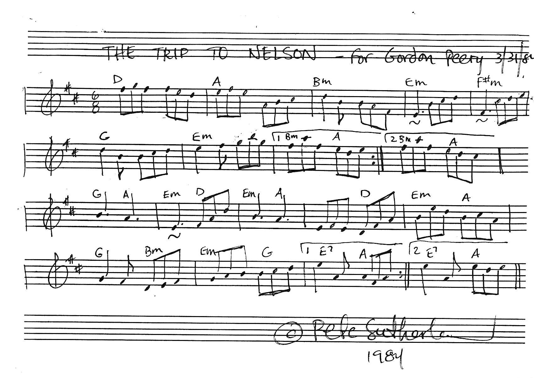 The original manuscript of the tune Trip to Nelson.