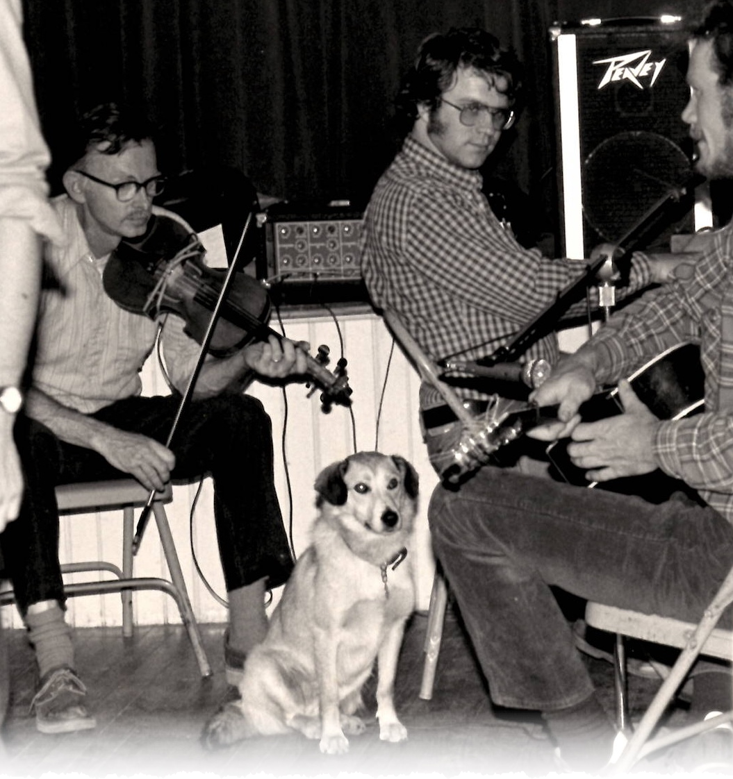 Harvey Tolman and Gordon playing at a dance in Greenfield, NH, circa 1980. Brian Cartwright on guitar, and Gordon's dog Fox.