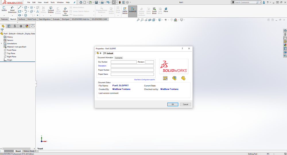 SolidWorks: PDM Data Cards — Perception Engineering