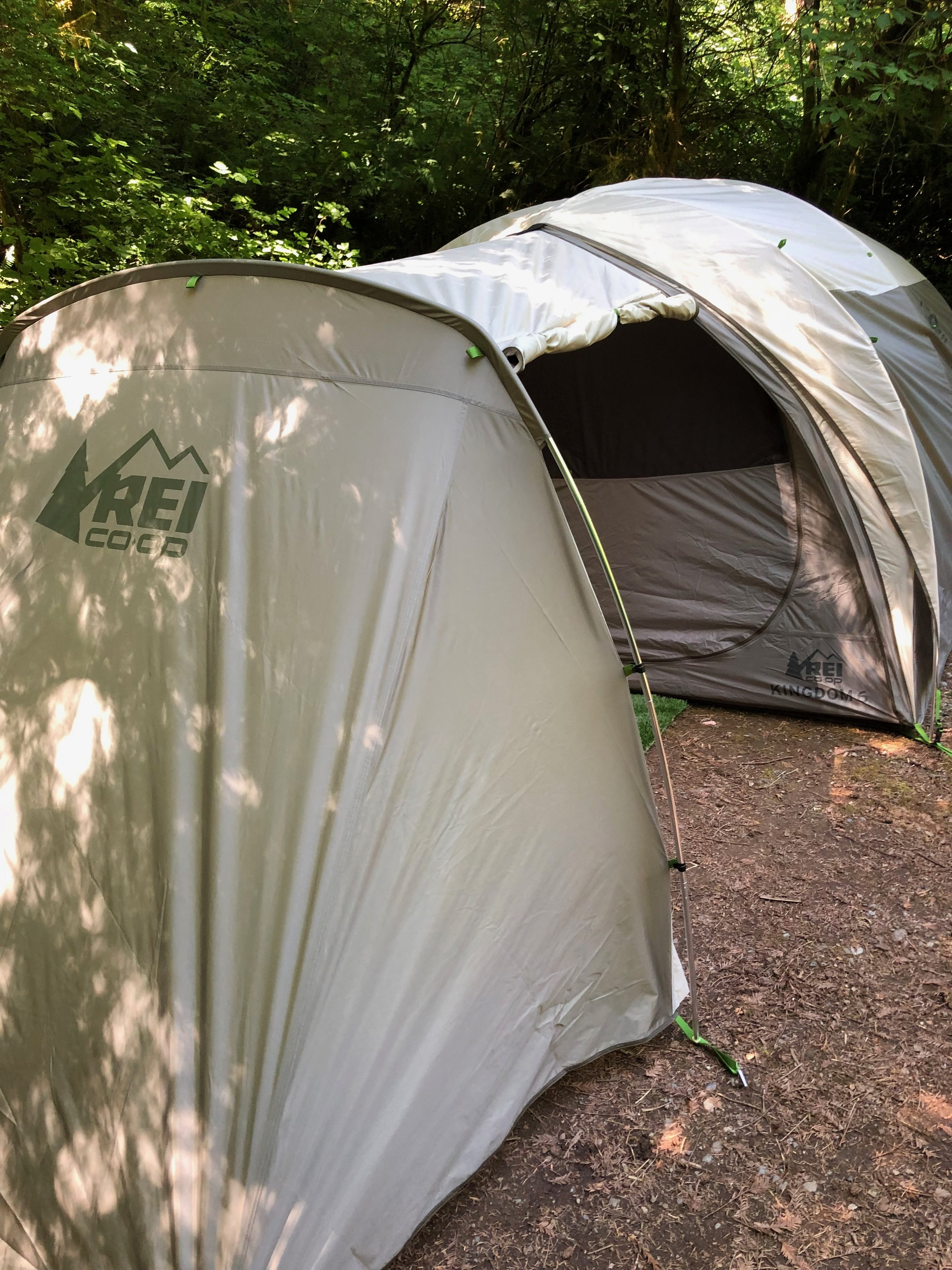 REI Kingdom 6 tent with optional Garage attached.