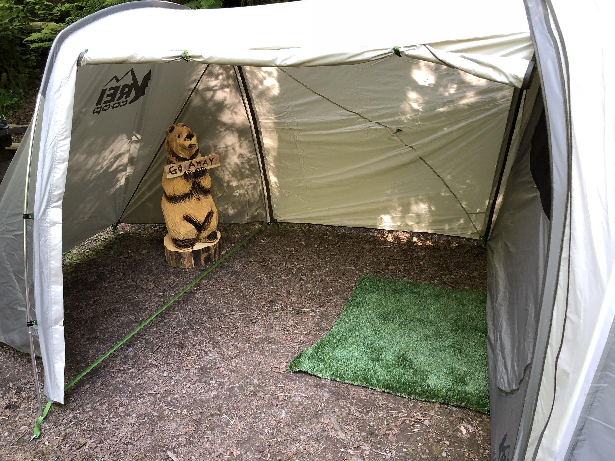 REI Garage attached to Kingdom 6 tent.