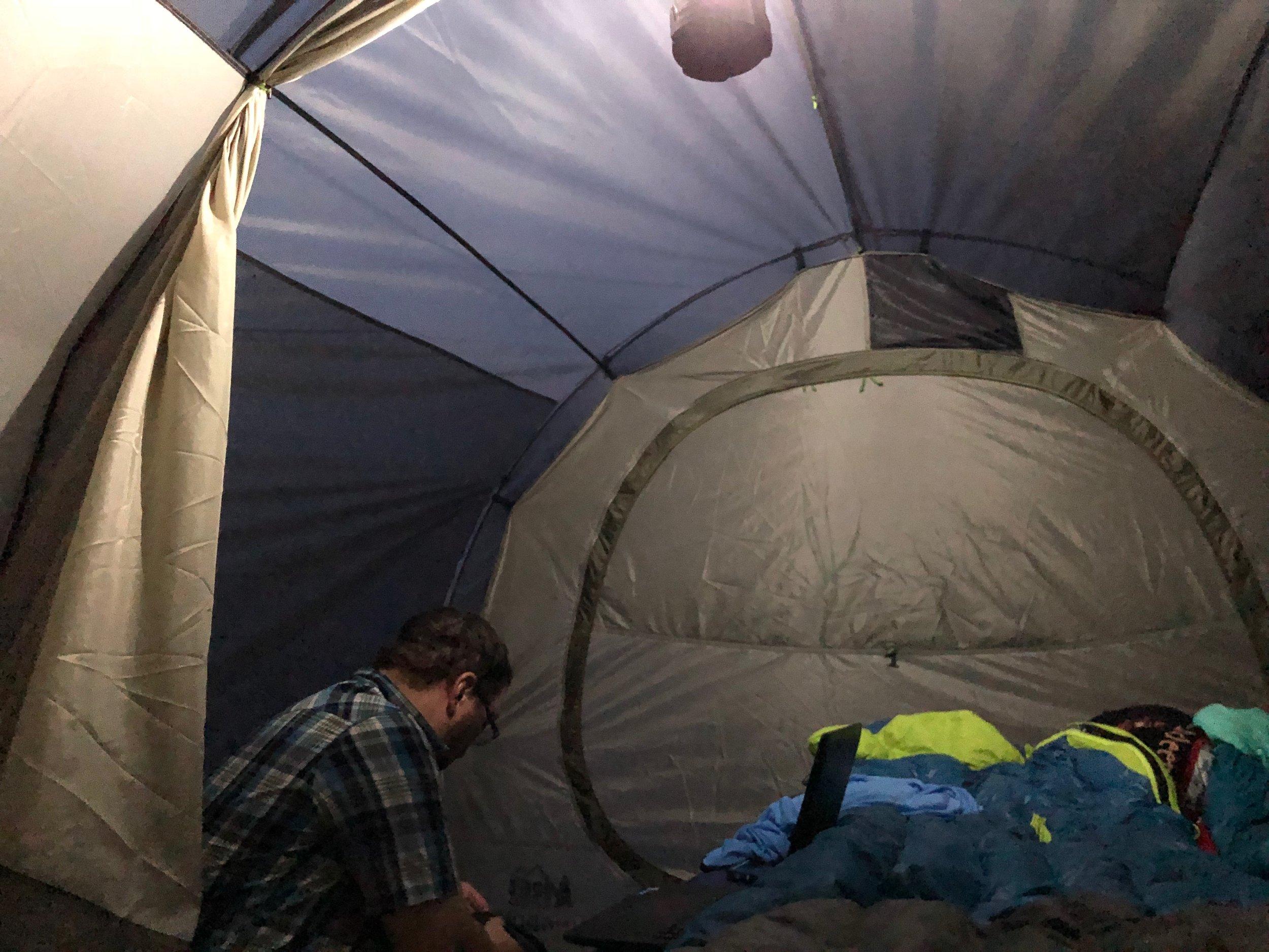 Inside view of REI Kingdom 6 tent.