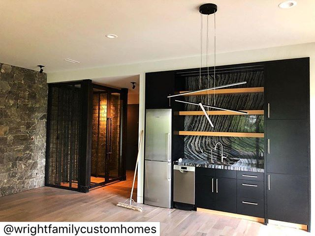 Getting closer! . #ashevilleparadeofhomes #ahba #buildwnc . . And another teaser from our Asheville Parade of Homes entry. Lower level wet bar and wine cellar.