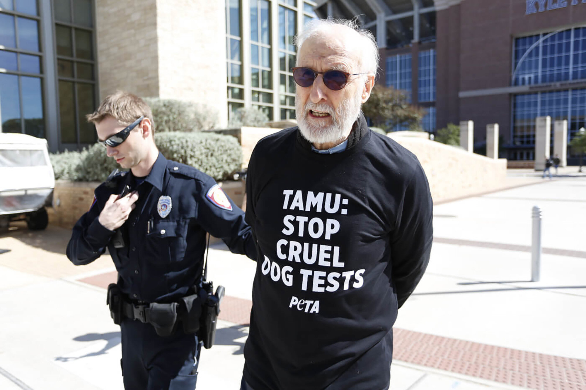 James Cromwell Arrested at Texas A&M University While Protesting Dog Lab Testing at the School - The Babe actor, 79, was arrested during a PETA protest at Texas A&M University's Board of Regents meeting while calling on the school to shut down its laboratory where golden retrievers and other dogs are part of medical research