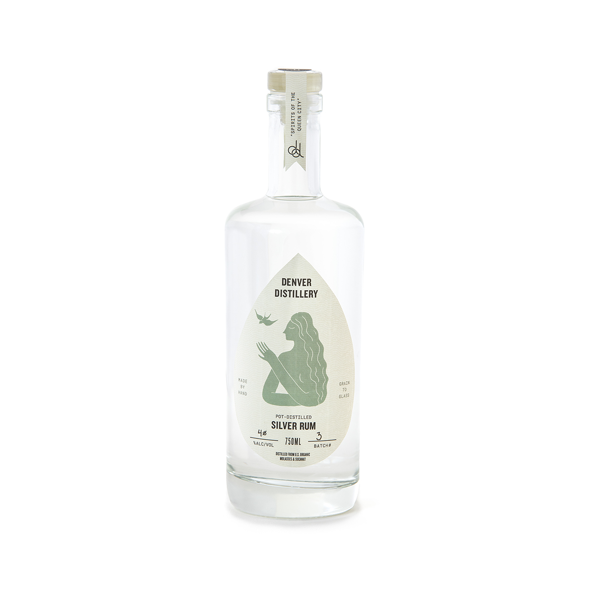 SILVER RUM - -twice distilled in our handmade copper pot still– traditional island recipe– made from U.S. grown organic sugar cane molasses and U.S. grown organic sucanat