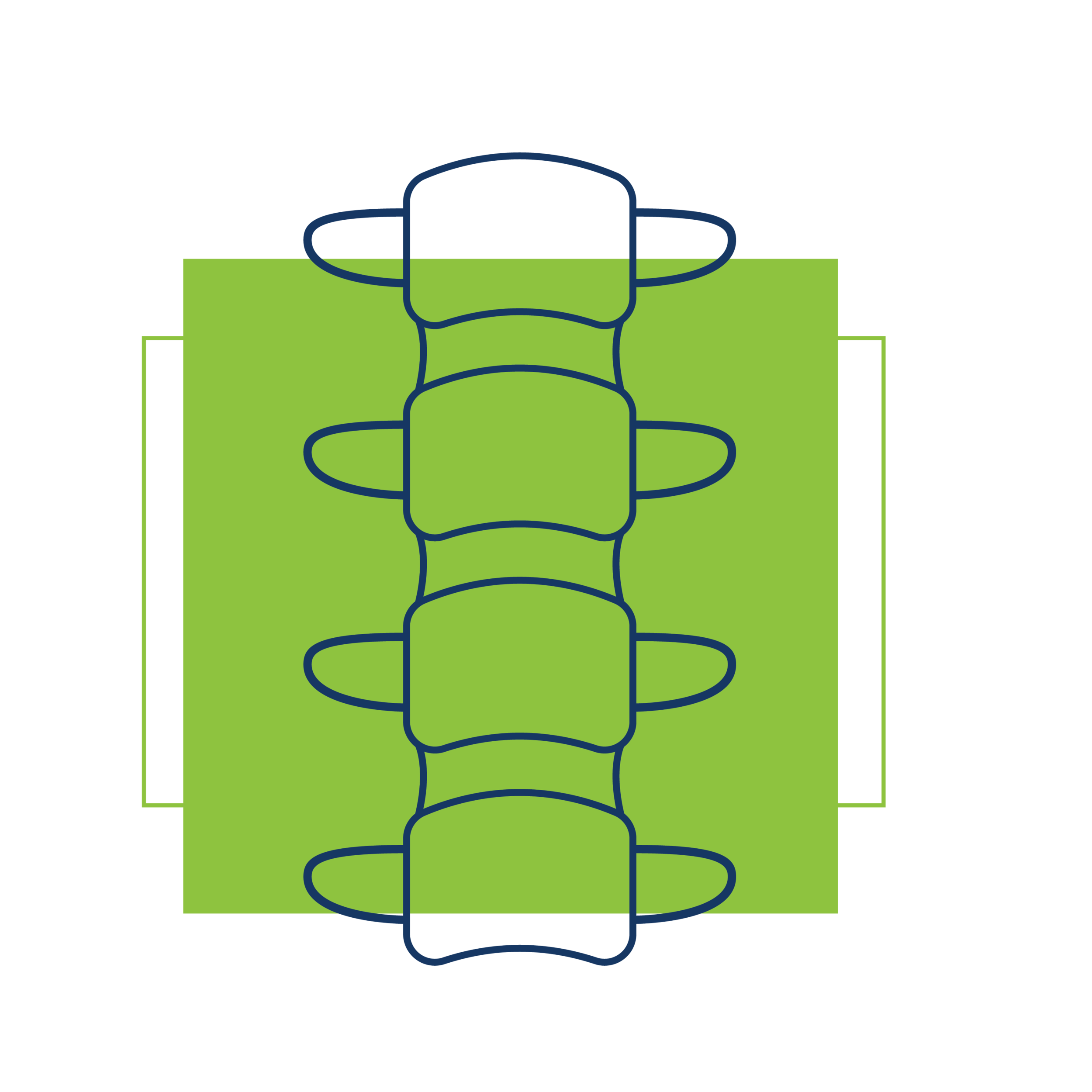 Blue spine Icon with green square and green square outline behind it.