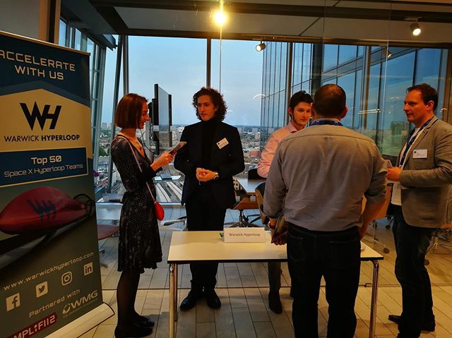 """""""The WBS Accelerator vs Incubator event was a great opportunity to engage with MBA students and WBS alumni, exposing our project to wider finance, consulting and enterprise sectors."""" Jake Gozdziewski (Warwick Hyperloop Project Manager) """"Warwick Hyperloop was one of the four organisations who had a stand, alongside  MinervaAngels, jollyclick and WatchKeeper International. Delegates at the event showed genuine  interest in Warwick Hyperloop stand and there were questions to both Jake (Project Manager) and Alexander (PowerTrain Team Lead) during the networking after the main talks. Most notably, I was present at a conversation between Warwick Hyperloop representatives and Ms Dolly Yan, whose employer is Dyson UK, and is doing the Exec MBA. Ms Yan recommened Jake and Alexander looking up at the Dyson innovation award / competition.  In general, the event had excellent line-up of speakers such as Suvi Chi who is a COO at Claimer; he shared the ups and downs of changing careers, finding co-founders and trying out new ideas; Rachel Davis who announced a new partnership between Warwick Enterprise and NatWest Accelerator; James Powell who has been leading the NatWest Accelerator initiative as well as Matteo Scarabelli who is Head of Investment at LMarks."""" Atanas Kozarev (Technology Integrator, Undergraduate Programme, Warwick Business School) 🚄🌟"""