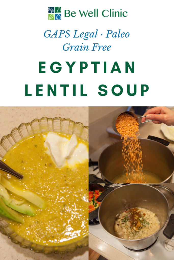 Finish your GAPS Legal Egyptian Lentil soup with a dollop of sour cream and a few slices of avocado for a healthy dose of fat. Recipe by certified GAPS Practitioner Amy Mihaly, Be Well Clinic.