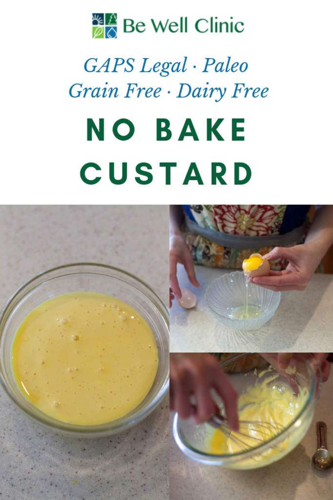This custard recipe is no bake and includes only two ingredients. It's dairy free and gluten free. It makes for a delicious dessert for one or you can multiple it for as many servings as you like. The entire recipe takes about five minutes. Recipe by certified GAPS Practitioner Amy Mihaly, Be Well Clinic.