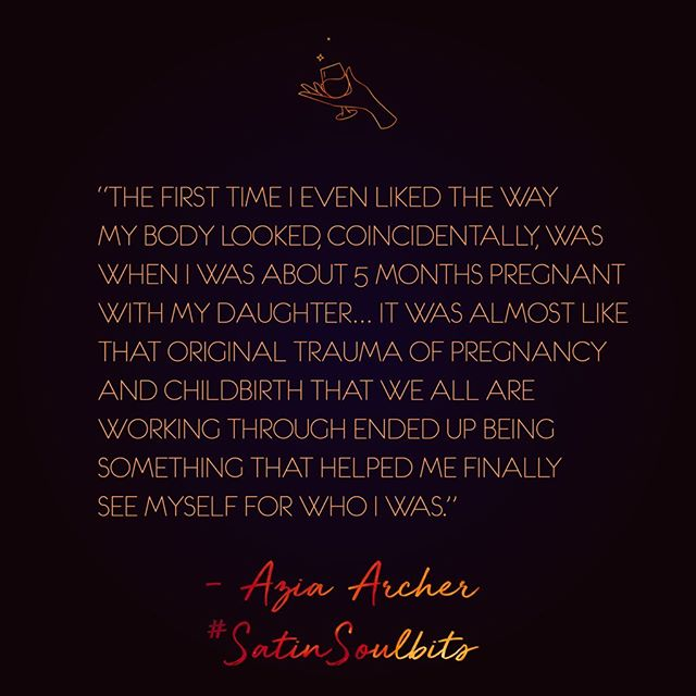 🥂 still blown away by the latest episode of #satinsoulbits with @ablackwholesun — so much profound wisdom from this phenomenal woman! #jointheconvo: when was the first time, or a profound time, that you liked the way your body looked? Have you ever liked the way your body looks? If not, how do you think you can? 💋