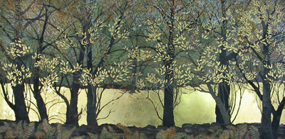 "Apple Trees & Stone Wall in Winter  Egg Tempera, 12"" x 20"""