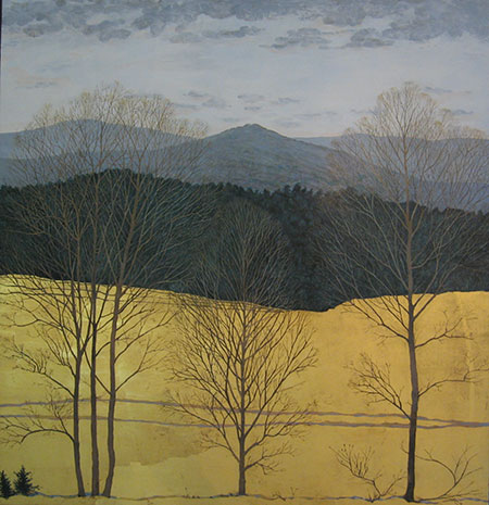 "Golden Fields #10  Egg Tempera and Gold Leaf 44"" x 46"""
