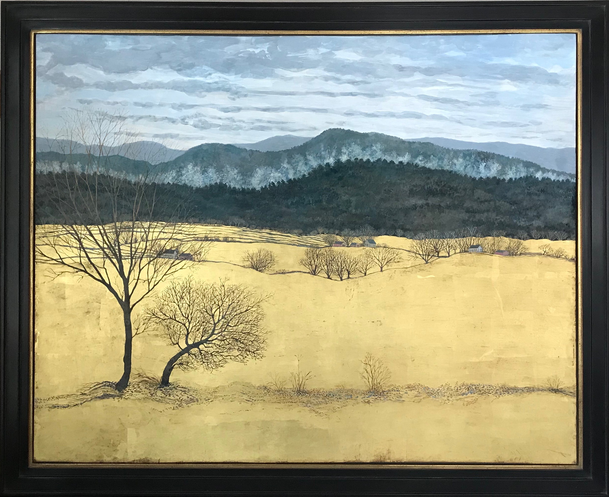 "River Fog - Egg Tempera & Gold Leaf 36"" x 44"""