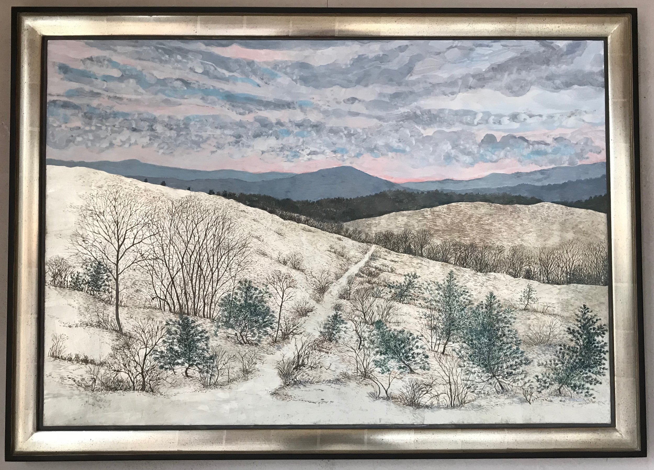 The Last of Winter in the Overgrown Pasture - Egg Tempera & White Gold Leaf 29x40