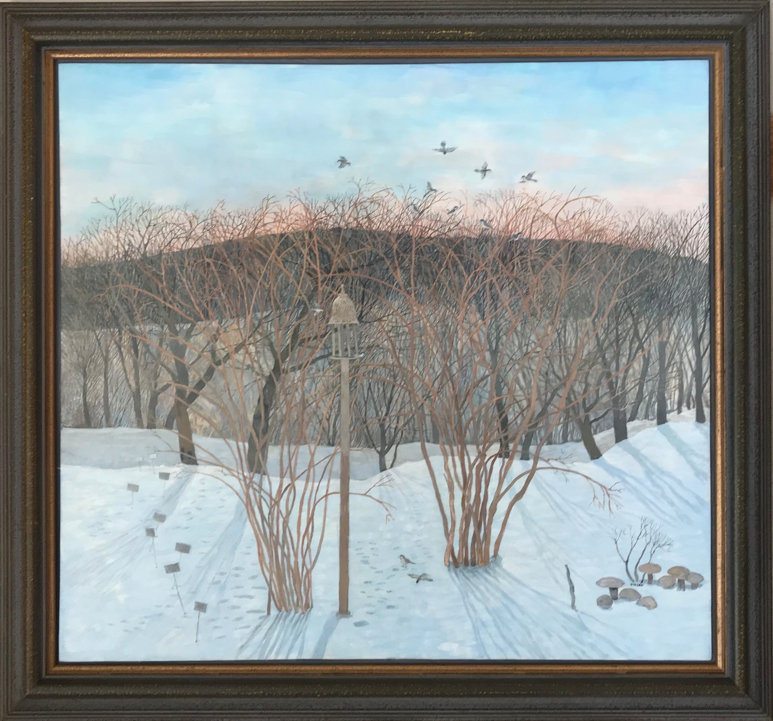 Winter Garden with Black Capped Chickadees - Egg Tempera, 30 x 32