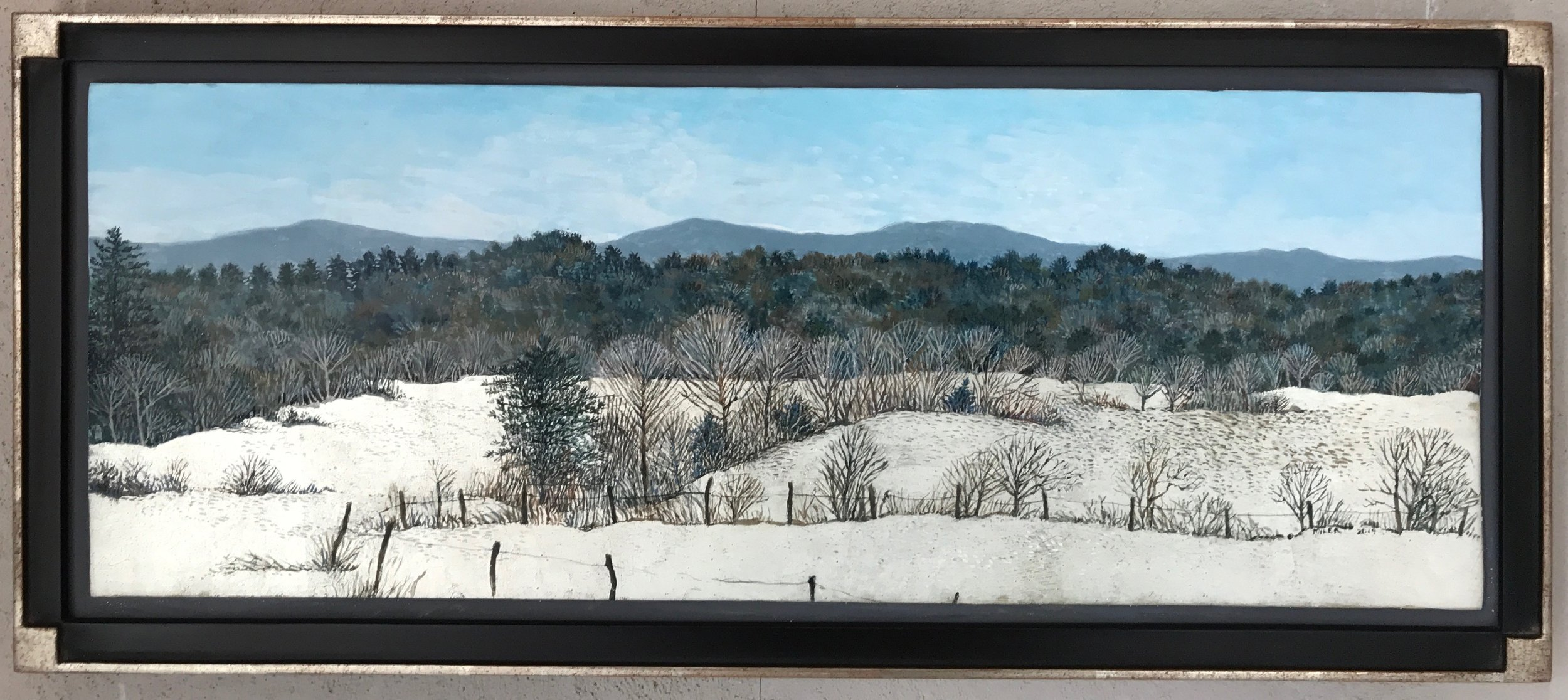 "Pasture Fence in Winter,  Egg tempera & White Gold Leaf, 9""x22"""