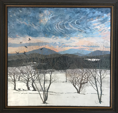Crows Caucus - Egg Tempera, white gold, silver, 37.5 x 39