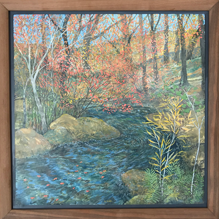 Red Leaves Floating on Moving Water - Egg Tempera, 14 x 14