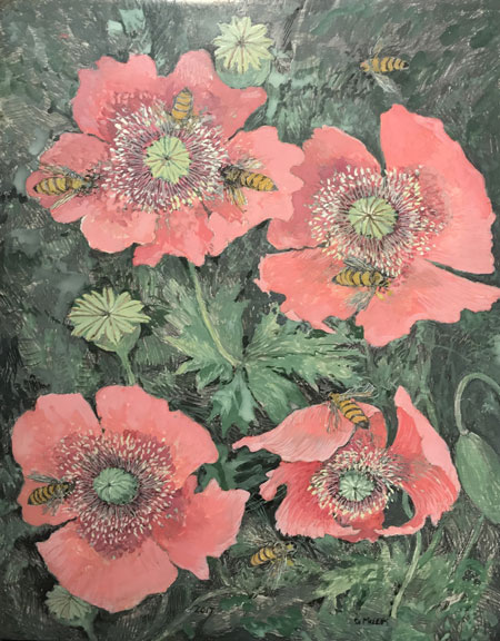 Poppies & Honey Bees - Egg Tempera, 13