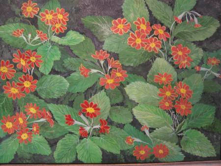 Red and Gold Primroses - Egg Tempera and Gold Leaf, 18