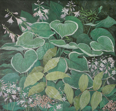 Hosta & False Solomon Seal - Egg Tempera, 28 x 29""