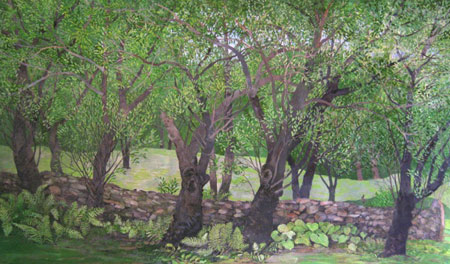 Ancient Stone Wall & Apple Trees - Egg Tempera, 22 x 36""
