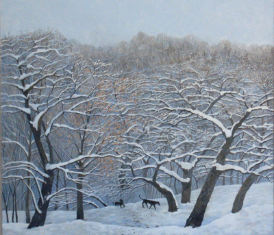 Winter Orchard with Dogs - Egg Tempera, 20 x 22""