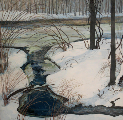 Early Spring Water - Egg Tempera, 26.5 x 27""