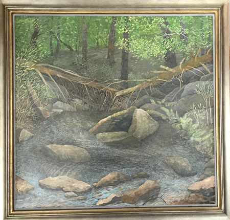 Moving Water - Egg Tempera, 32 x 31""