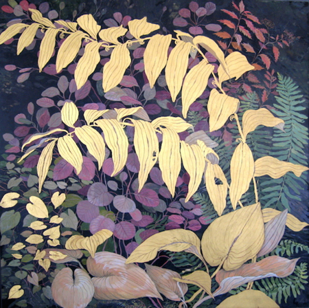 Golden Great Solomon's Seal - Egg Tempera with Gold Leaf, 40 x 40""