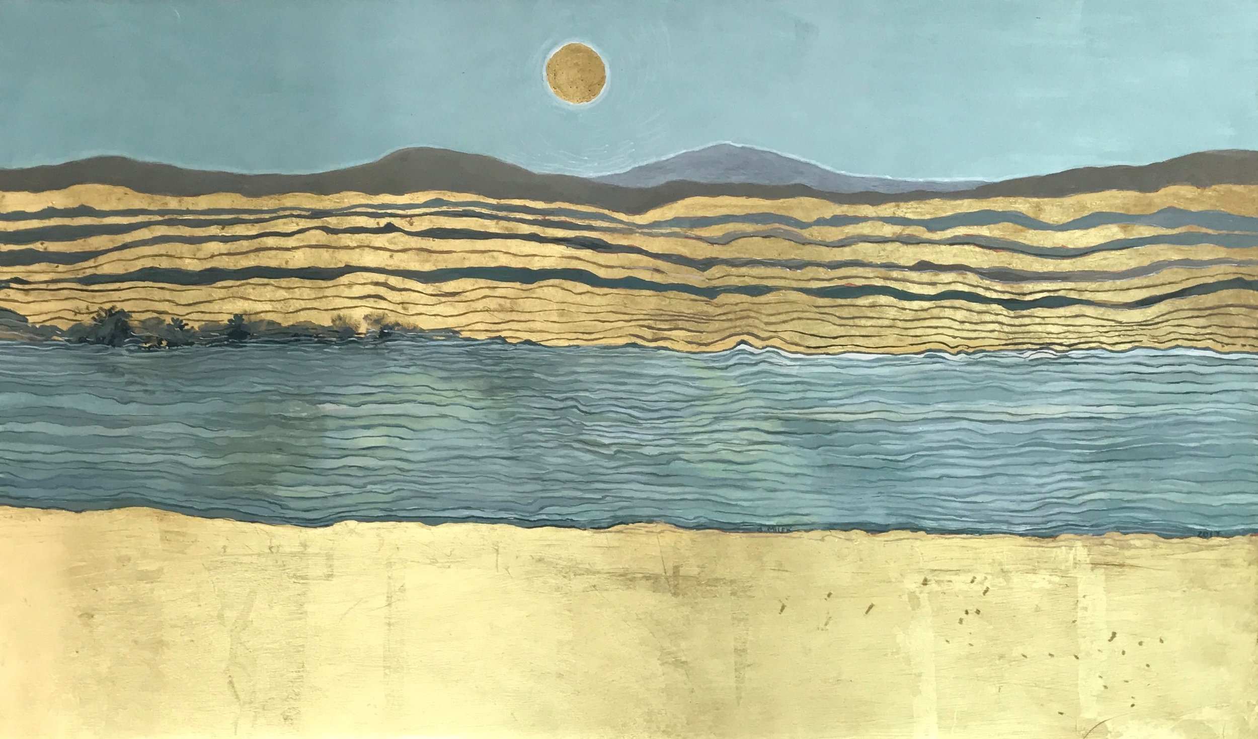 "Conn River After Mark Rothko - Egg Tempera & Gold Leaf 23""x15"""
